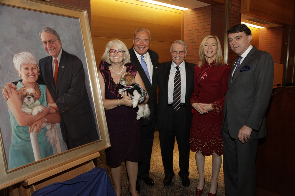 Pictured at the Wharton School of Business, Portrait dedication ceremony : Patty, Jay, Dr. Amy Gutmann (Penn President), Thomas Robertson (Dean, Wharton). Photo by by Dr. Amy Gutmann, Penn President