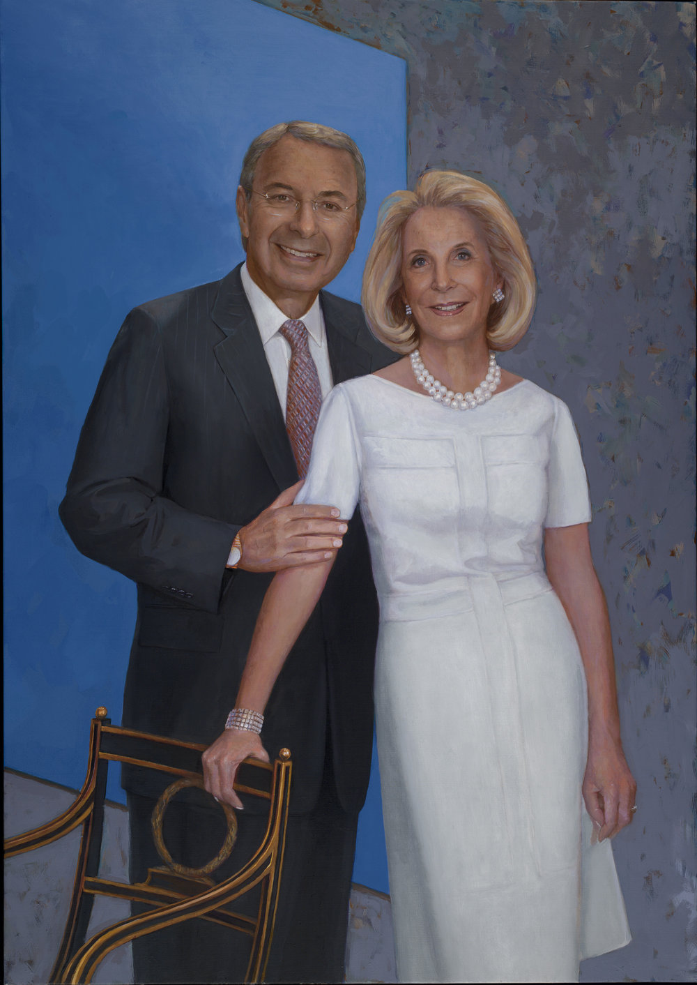 Portrait painting of William and Phyllis Mack, NYC. (background image, Ellsworth Kelly, is part of an their extraordinary Modern and Contemporary Art Collection.)