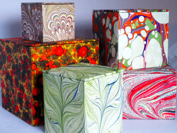 Find an interesting vessel for your gift.  You can re-purpose something, or you can actually create something yourself, like one of these artful paper boxes (we happen to be having a class on this in March, click here.)
