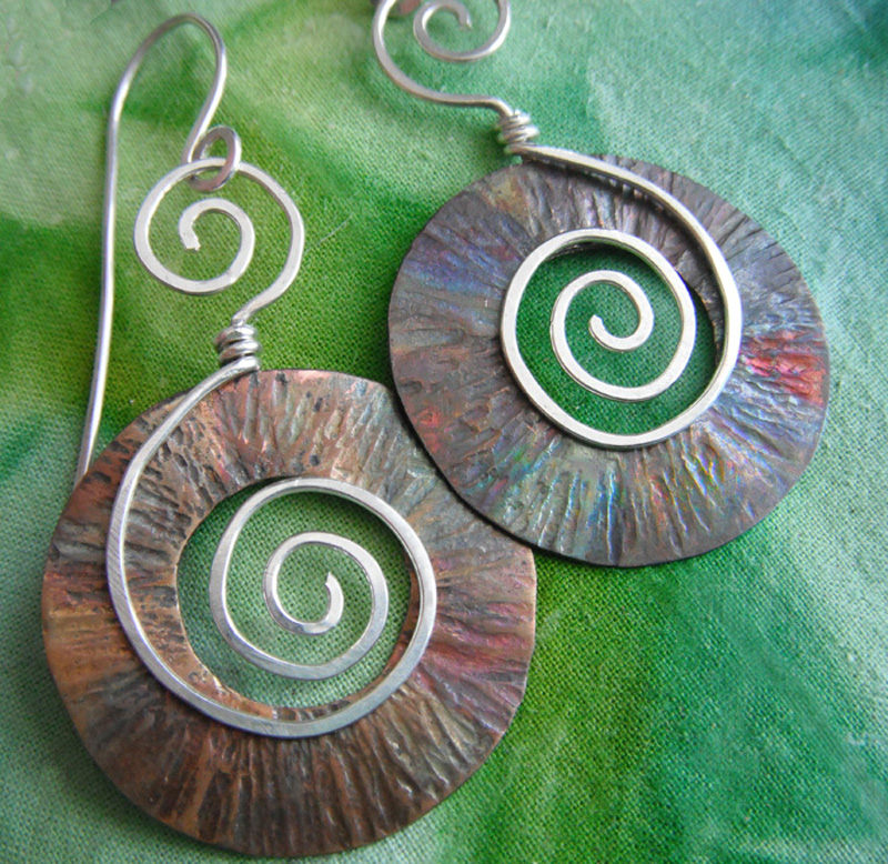 Fire polished copper with sterling spirals.jpg