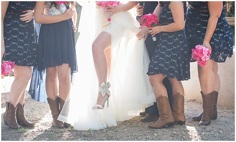 First off the cowboy boots and bridesmaid dresses are awesome..but how about the bides shoes!!