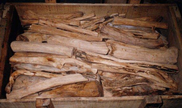 Crate of fragrant sandalwood
