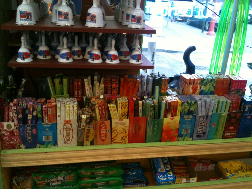 Incense shelf at non-descript store in Philly (below the souvenir bells)