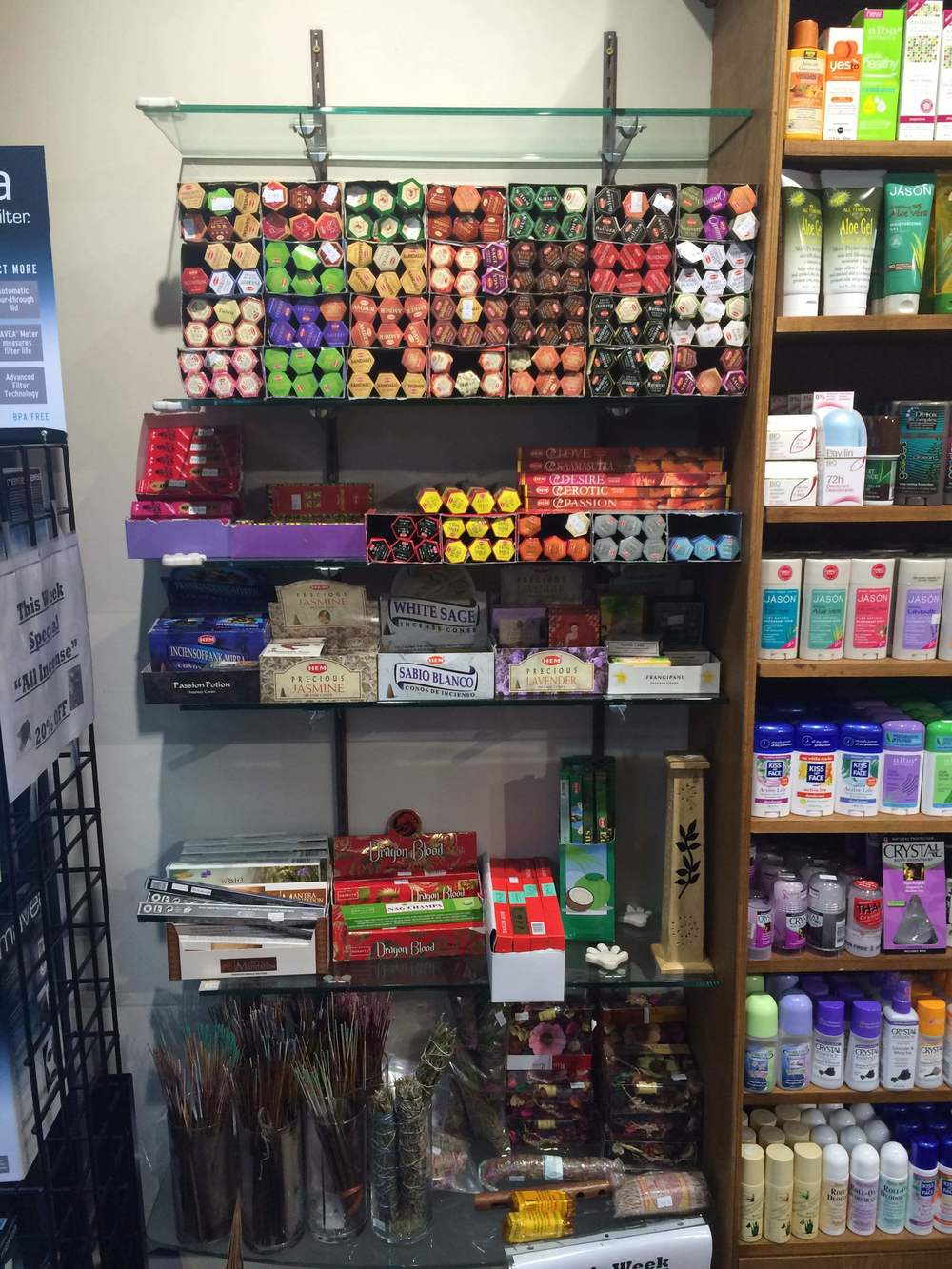 Incense shelf at the new Organic Bay vitamin store on Broadway in Astoria