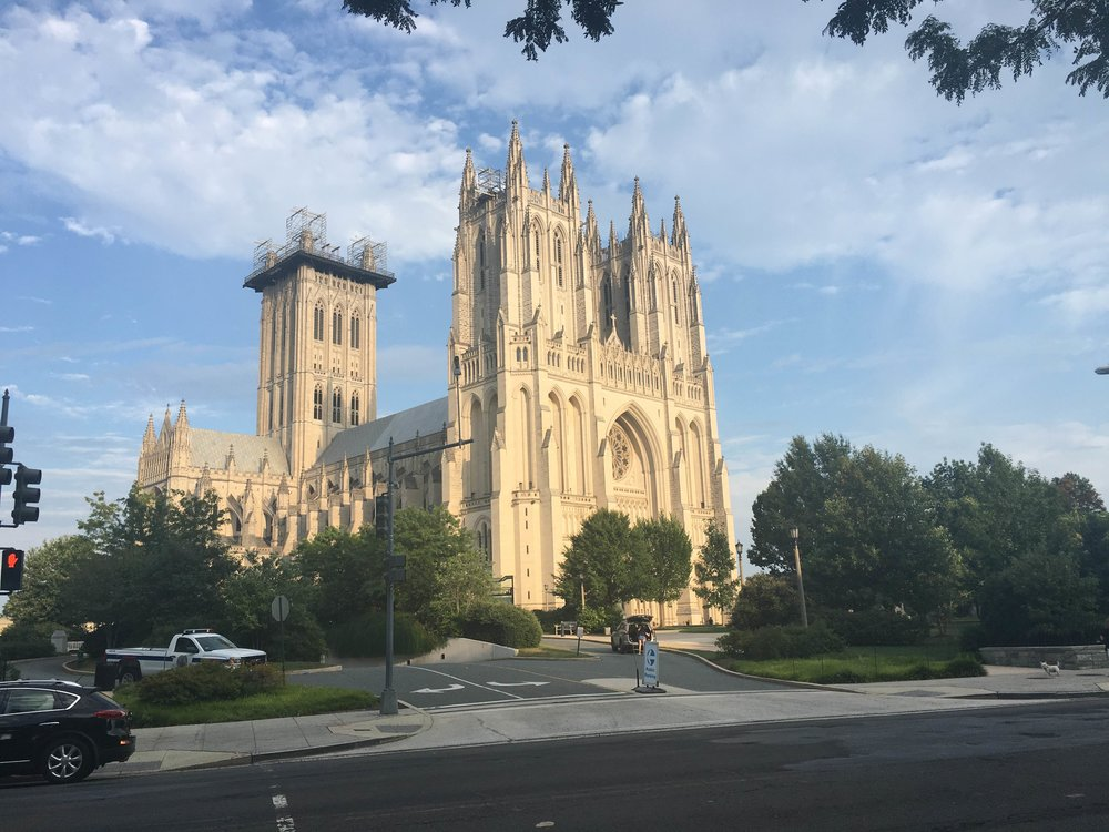 Incense and Christianity: National Cathedral in Washington D.C. on a sunny summer day