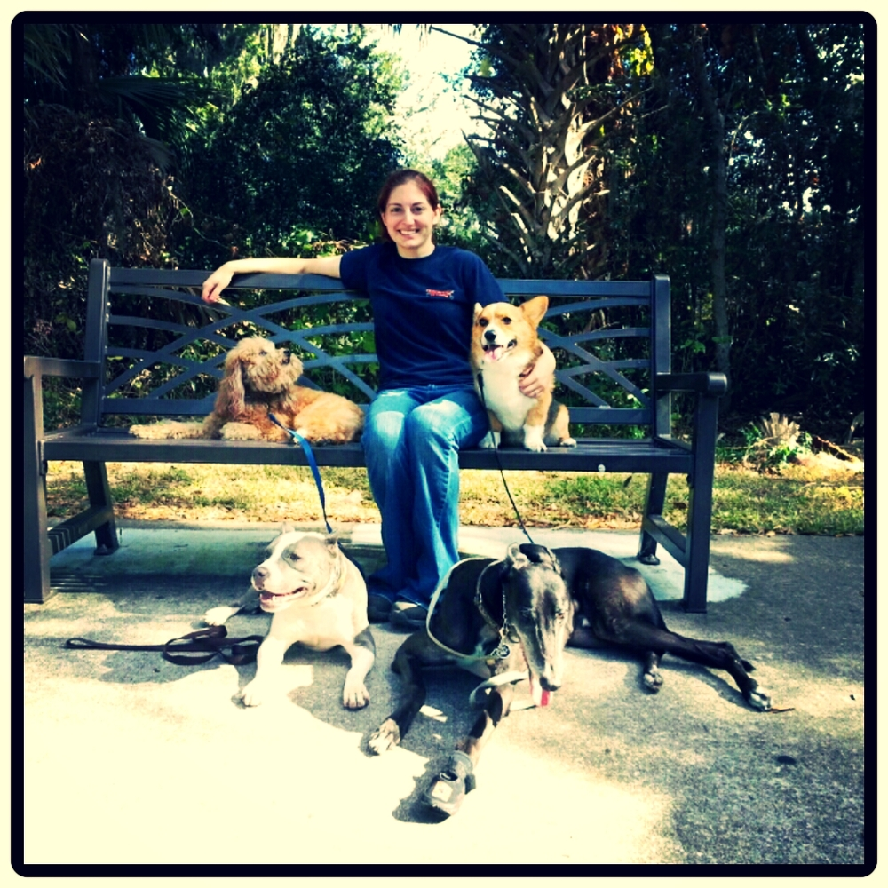Victoria with her 4 dogs: Leo, Mowgli, Khaleesi, and Ramses