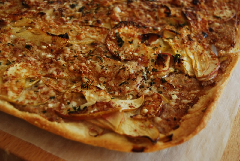 potato onion parmesan flatbread pizza