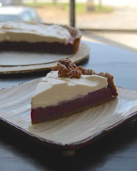 purple sweet potato tart with chocolate crust
