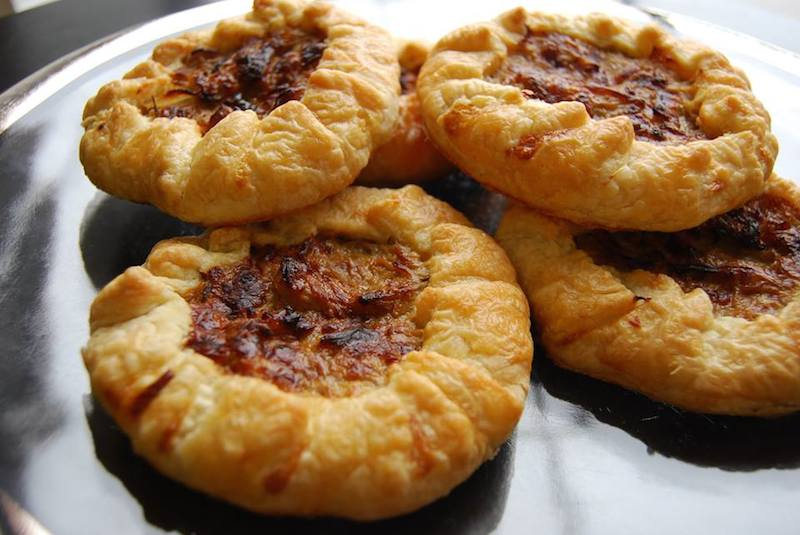 caramelized onion and gruyere galettes