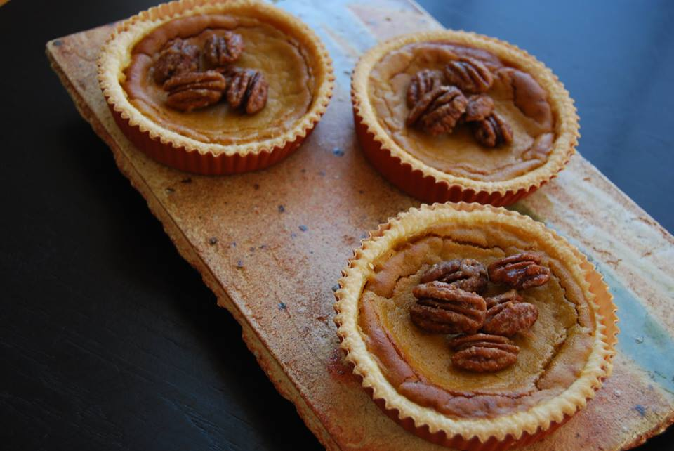 brandied pumpkin pie with maple roasted pecans