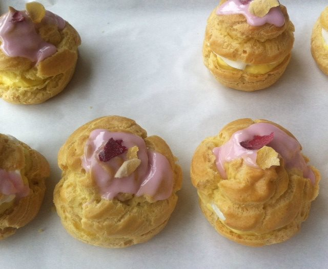 rhubarb rose cream puffs