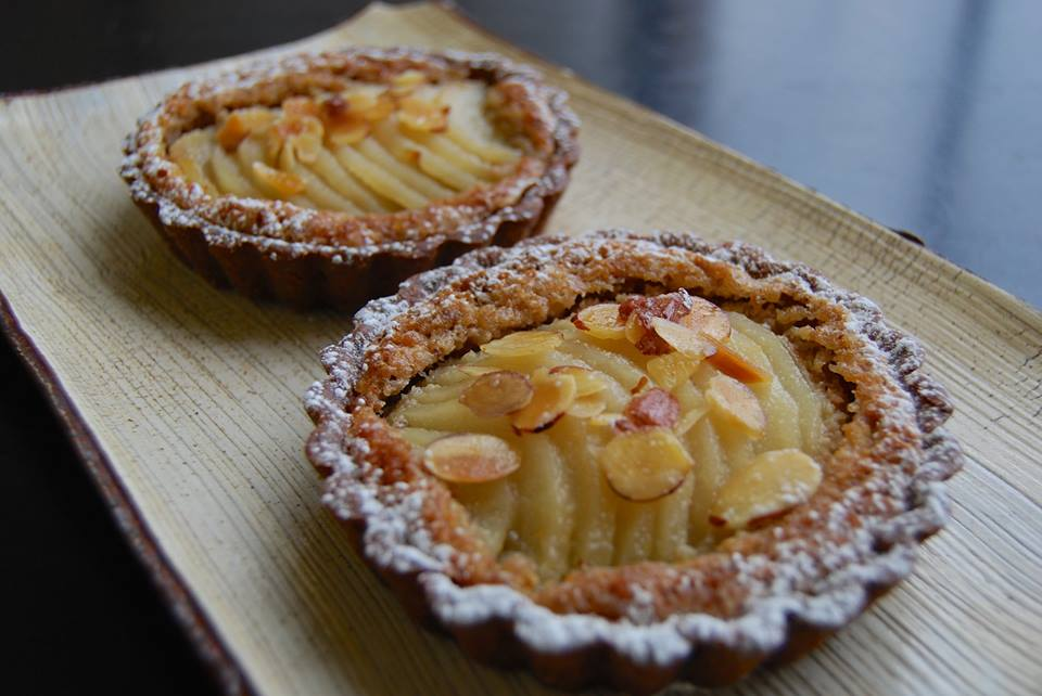 pear tarts with chestnut/almond cream and chocolate crusts