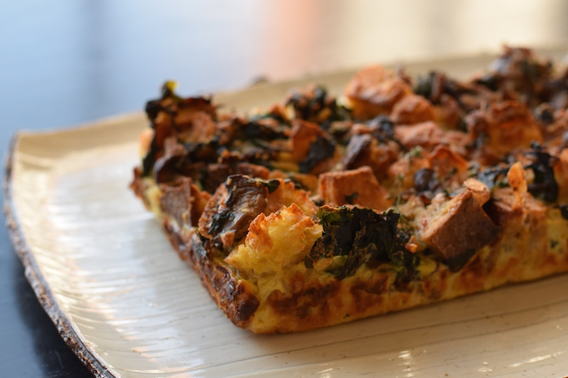 bread pudding - mushroom, kale and gruyere cheese