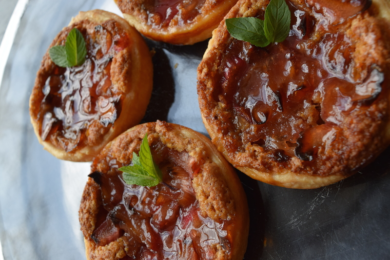 rhubarb rose and toasted almond tarts