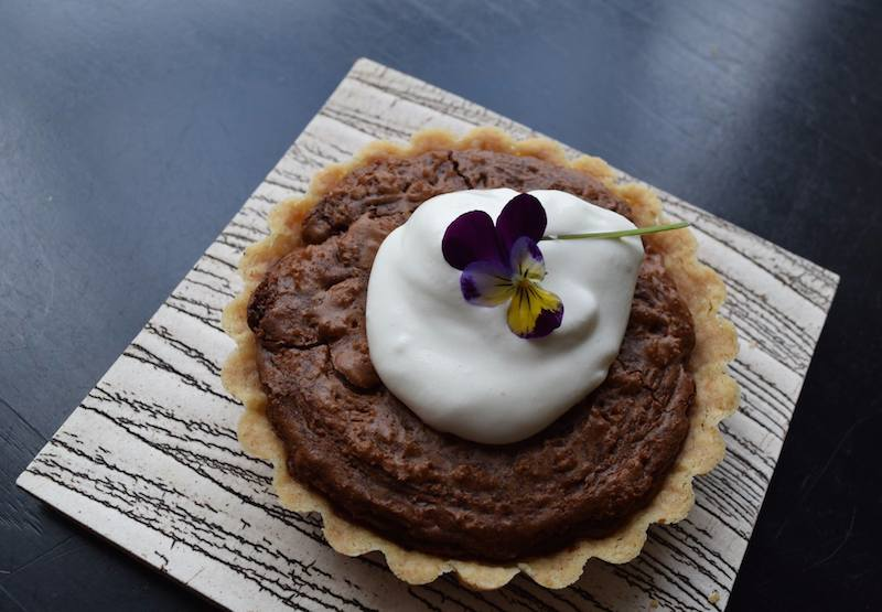 bittersweet chocolate and walnut tarts