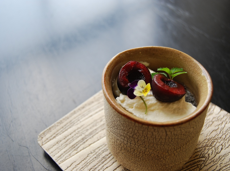 black sesame pannacotta with cherries