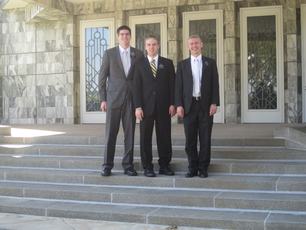 Elder Blanding in the middle with his two companions Elder Adams and Elder Hammond in Dallas.