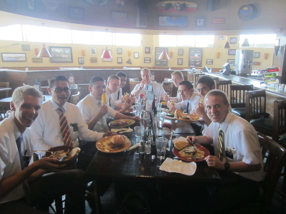 Elder Swenson's Birthday Bash at Applebee's Jason is in the front on the right.