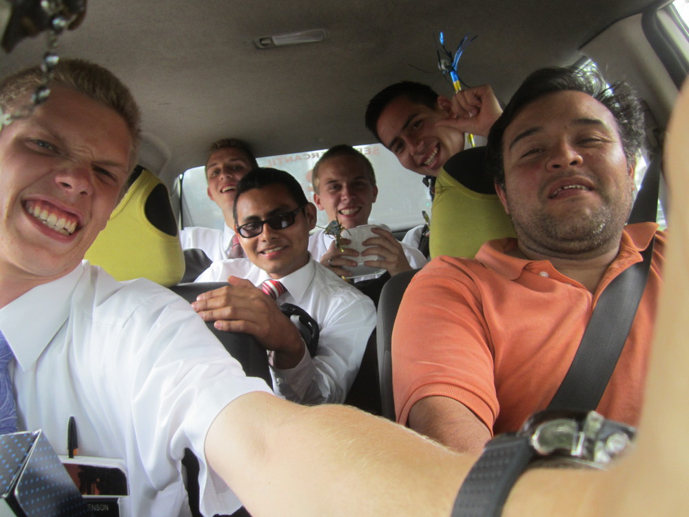 How to stuff six Elders in a Mexican Taxi. One is hiding behind the taxi driver's head. Jason is dead center in the back.