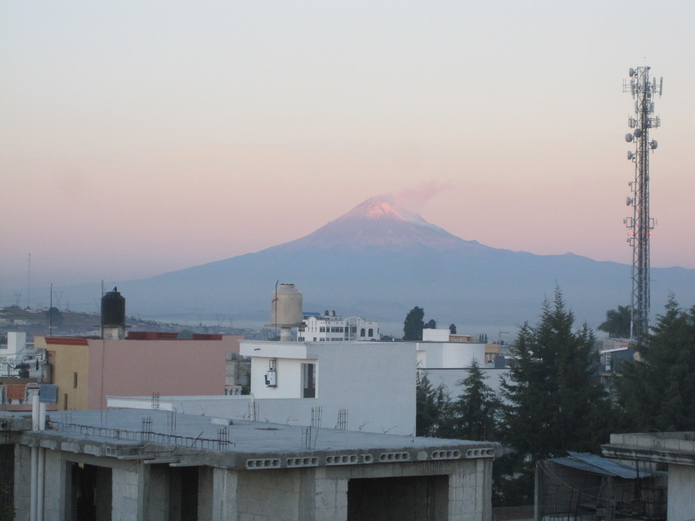 From the roof of Elder Blanding's new home in San Pablo del Monte. The mountain the distance is El Popo (he believes).