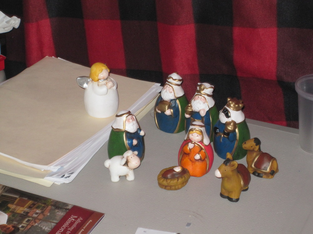 """My nativity set that I bought for 180 pesos (it is about 14 dollars). Oh, and I will be sending you the nativity set to add to your collection for next year. I really don't want to have to pack it up and carry it with me for the next 15 months."""