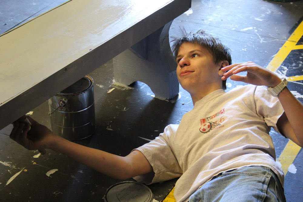 Matt helping paint sets.