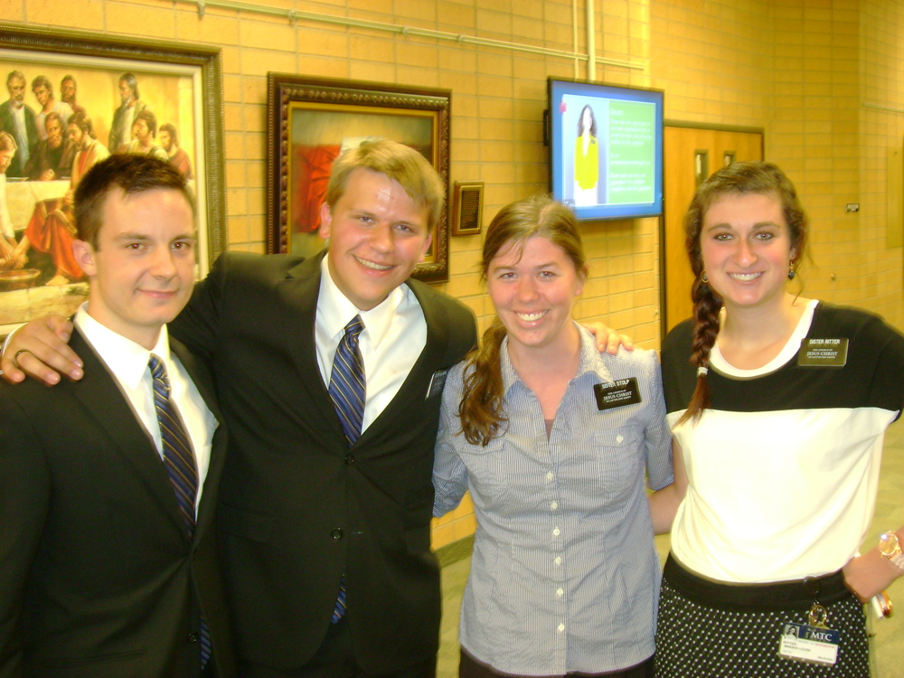 Elder Michael Blanding second from left and his cousin Sister Julia Stolp (in the blue)