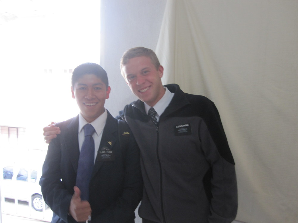 Elder Jason Blanding (right) and his companion Elder Perez