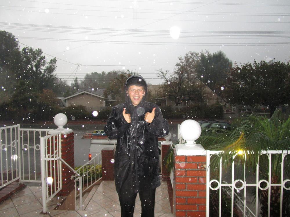 Elder Michael Blanding loves the rain!!