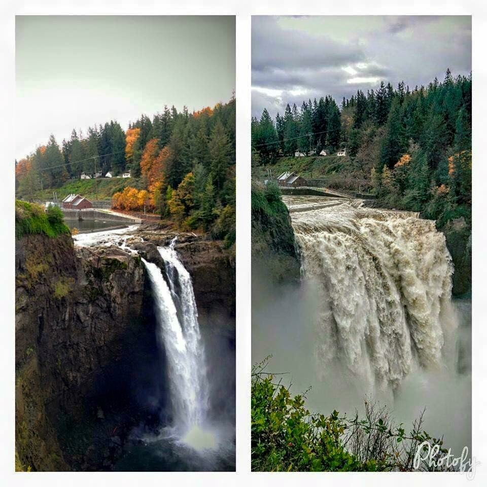 I stole this photo off of facebook, to show how much rain we had. These pictures are just a few weeks apart. Snoqualimie Falls.