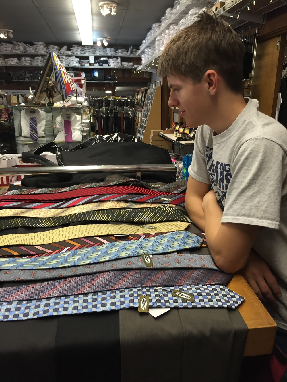 Picking out ties!