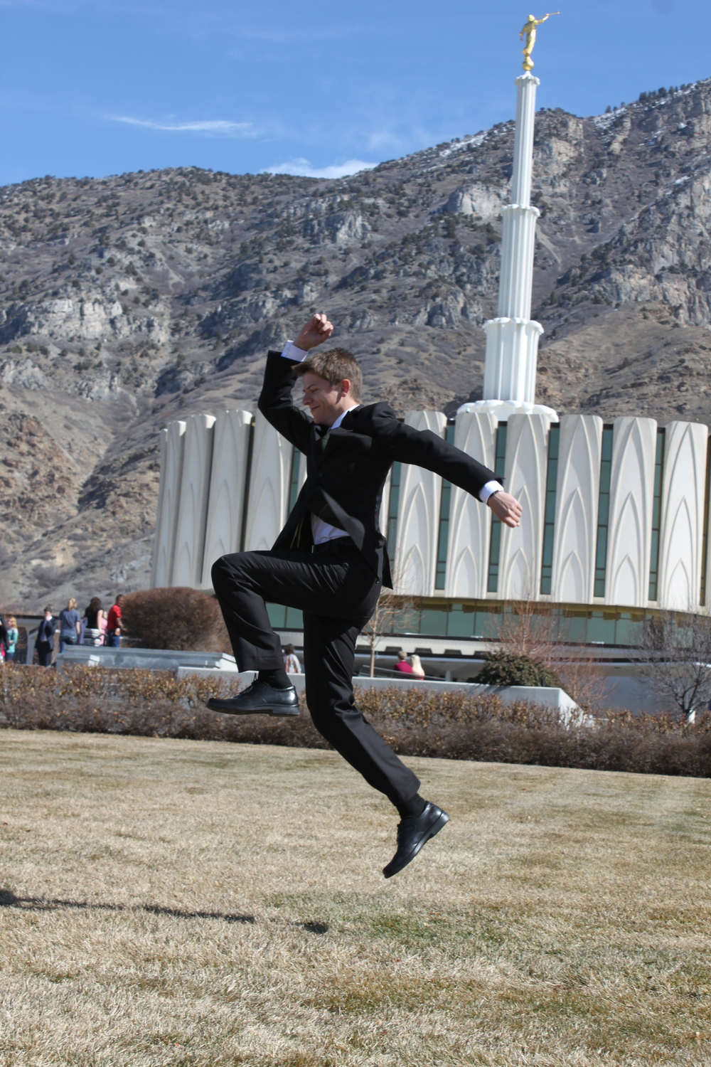 Elder Matthew Blanding jumping for joy!
