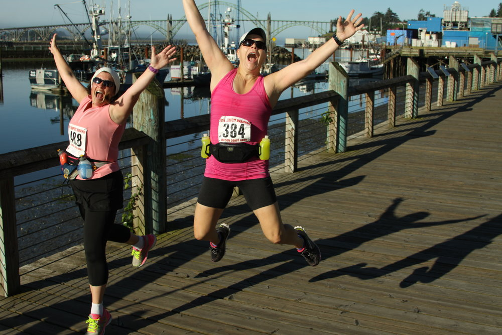 Roy and Doreen jumping for joy--only 4 miles in!