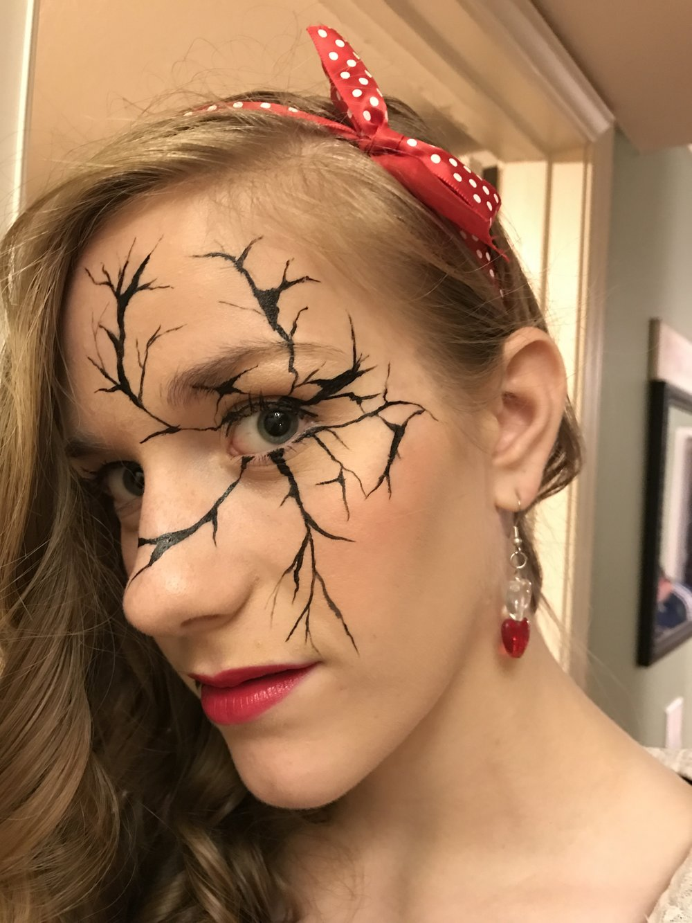 Jessie's broken china doll face for Halloween