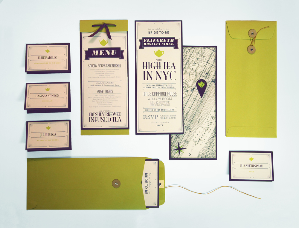 The entire stationary set was hand-made using Fig and Chartreuse paper from Paper-Source.