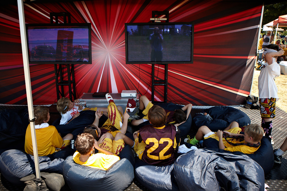 The Players Lounge offered a place to relax after a grueling day on the field and featured video games and college highlight films.