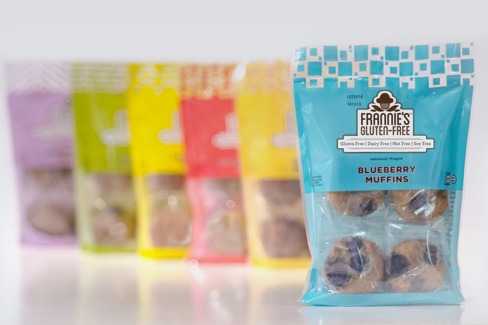 The colorful packaging paired vibrant hues with geometric patterns to represent each of the individual muffin flavors.