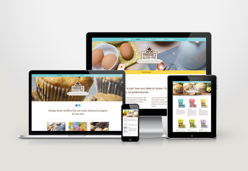 The website re-design showcases the photography which highlights the organic ingredients used in making the muffins.