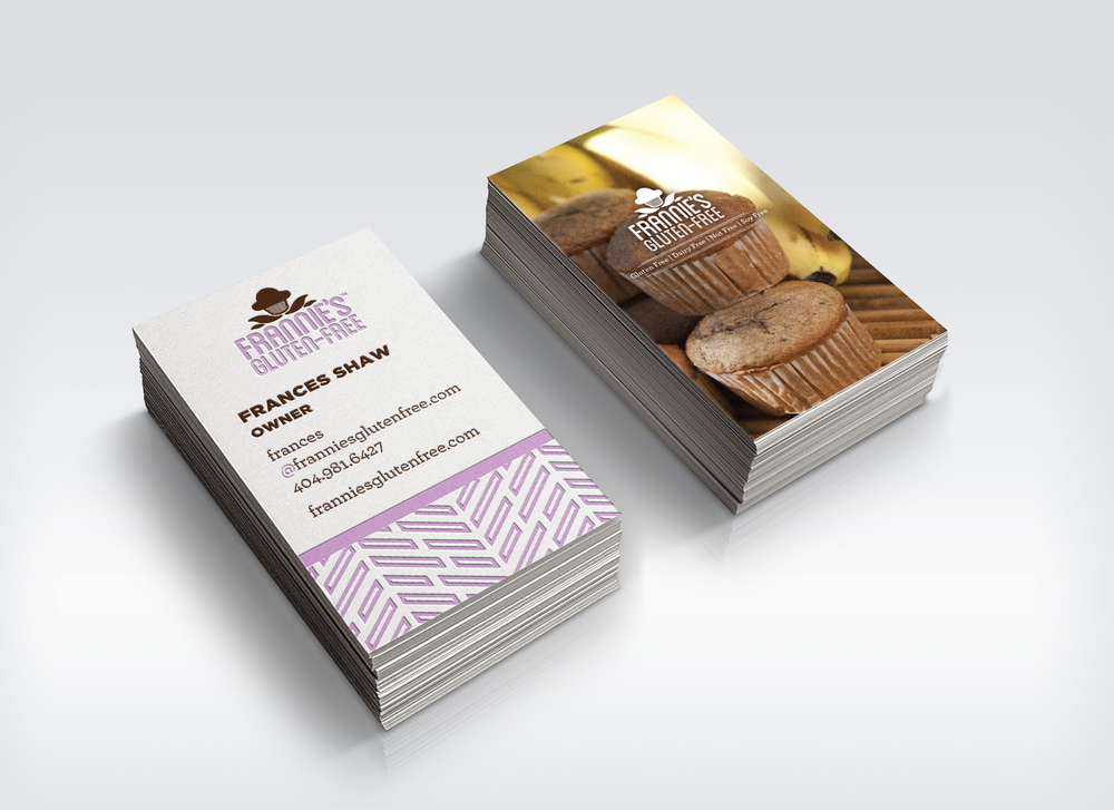 The business cards featured a photo of the muffin on one side and that flavor's corresponding pattern on the other.