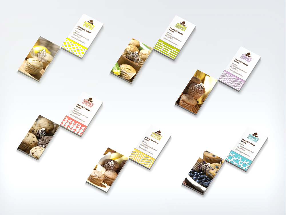 A total of six business card templates were created, each featuring a specific muffin flavor.