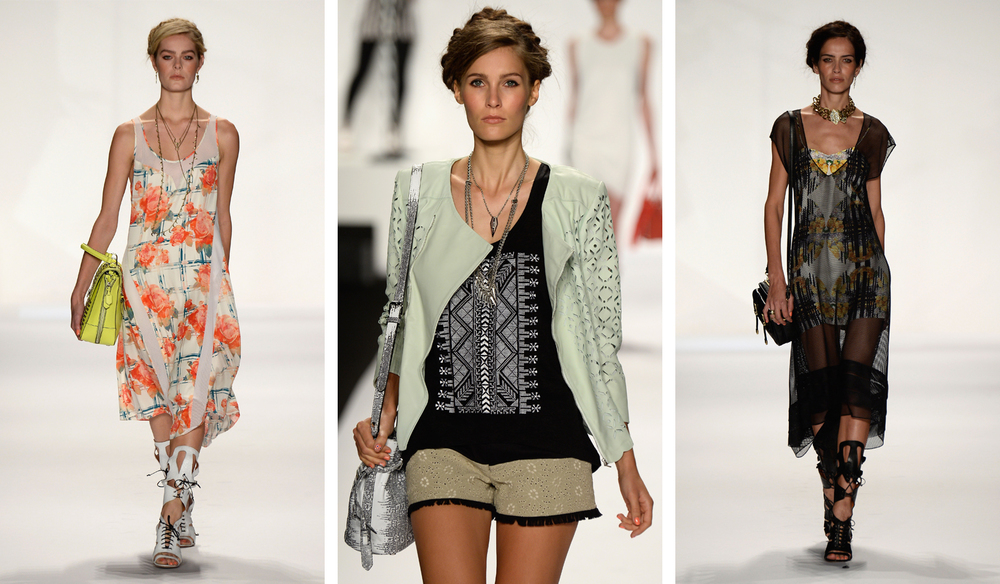 Models walked the runway wearing Rebecca Minkoff's Spring 2014 collection.