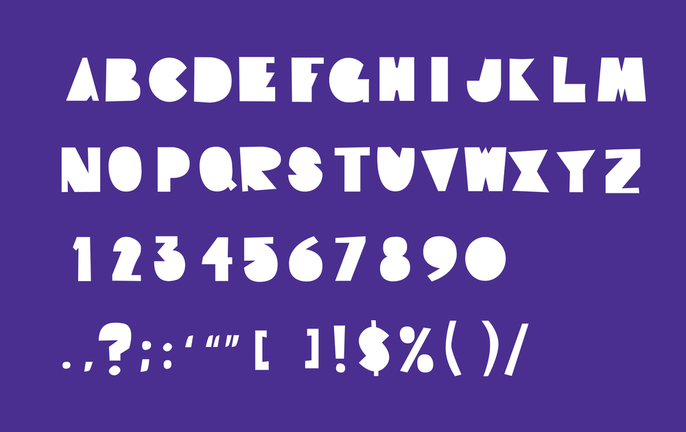 Custom font inspired by traditional kids' classroom crafts and materials, including construction paper and potato stamps.