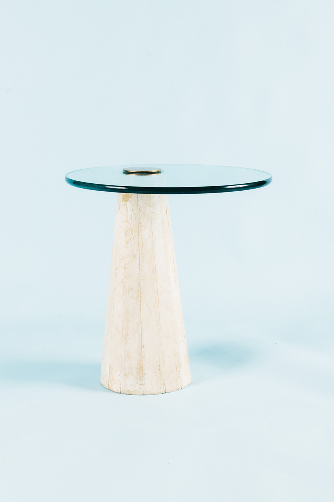 Italian Travertine Side Table