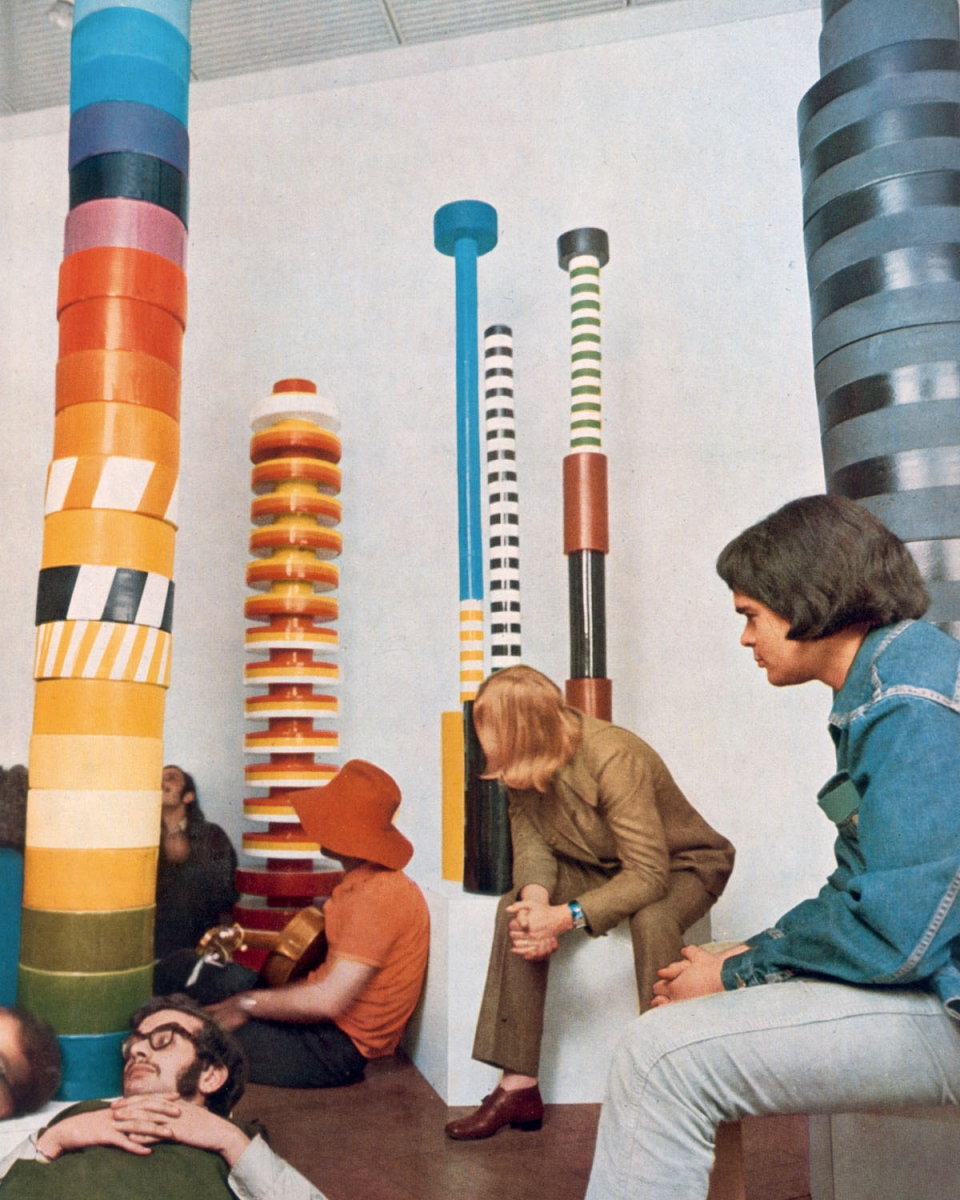 Ancient civilizations and Pop Art were huge influences on Sottsass's work. In 1967, he melded the two for  Menhir, Ziggurat, Stupas, Hydrants & Gas Pumps  (above), an exhibition of oversize ceramic totems. Courtesy Ettore Sottsaas and Barbara Radice/Studio Ettore Sottsass