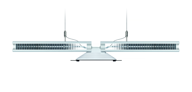 The CU-Beam's aluminum wings carry thin copper heat pipes, each with a single drop of water in it. As the LED heats up, the water evaporates and travels along the pipe because of a pressure difference. When it reaches a cool spot, it condenses, thereby dissipating heat, and is then drawn back to the hot LED through capillary action.