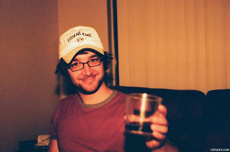 "Tom Fonss rocks his new hat that he got from the liquor store after ""fighting off a pitbull that was attacking a man"""