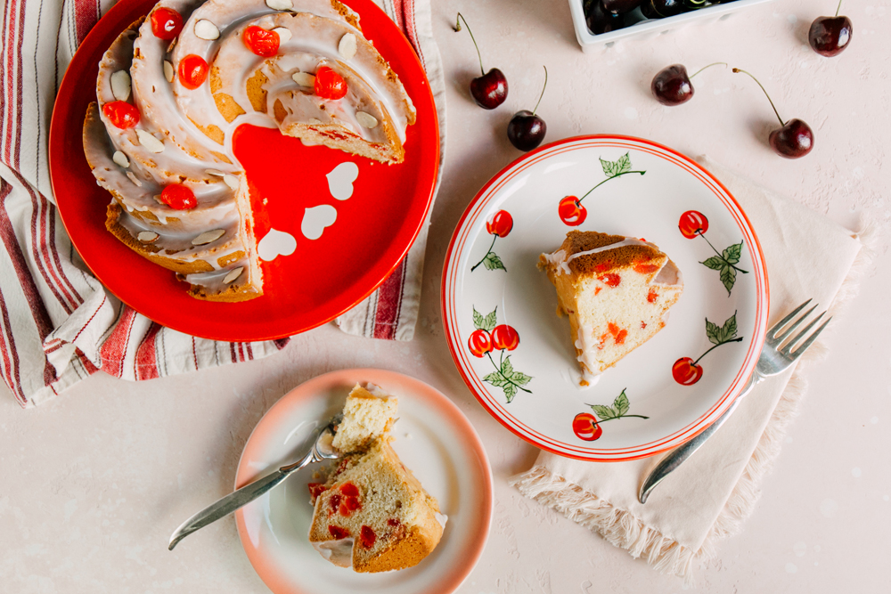 Bellingham Food Photographer, Cherry Bundt Cake, Mary Berry, Great British Baking Show, Slice of Heaven