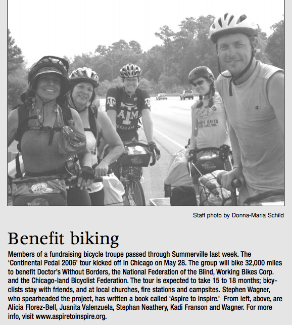 A snippet from one of the many kind newspapers that covered our journey along the route.
