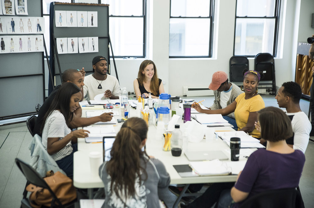 The cast and creative team of Jireh Breon Holder's  Too Heavy For Your Pocket  at Roundabout Theatre Company
