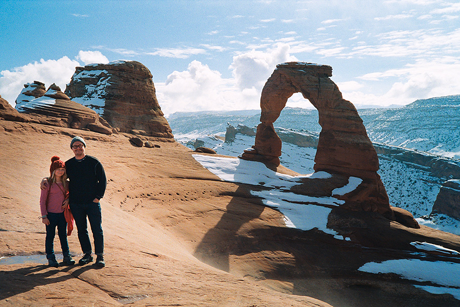 The best part about being at national parks in the winter is there are *no* people around. Normally, Delicate Arch looks like an amphitheater with people everywhere. We got there and were the only ones there for well over an hour, just enjoying the beauty all by ourselves, having full run of the place.